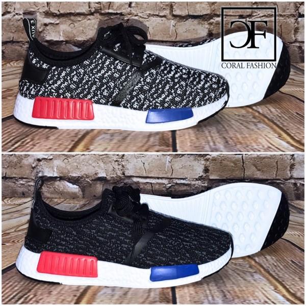 Super leichte & bequeme HERREN 2 STRIPE (Rot/Blau) Sportschuhe / Sneakers