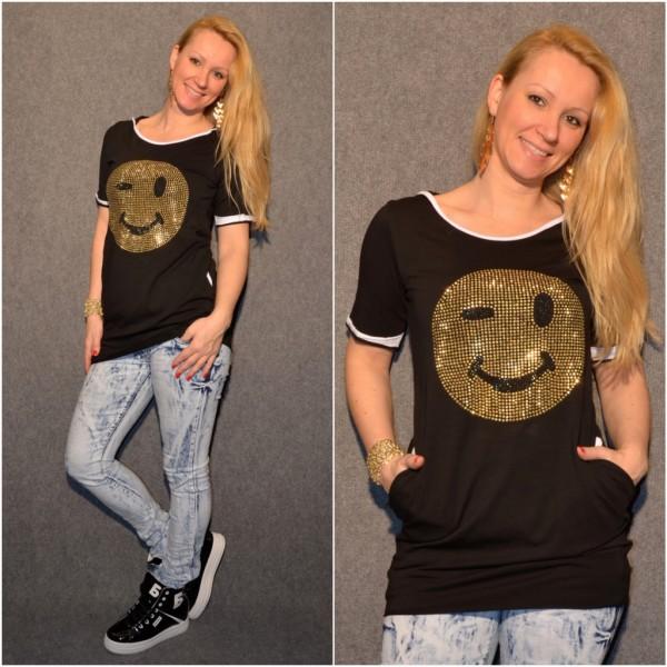 SMILEY Longshirt mit Kapuze SCHWARZ