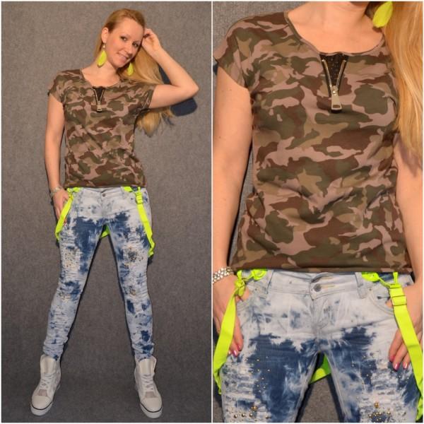 CAMOUFLAGE Shirt / T-Shirt mit Zipp beim Ausschnitt BRAUN