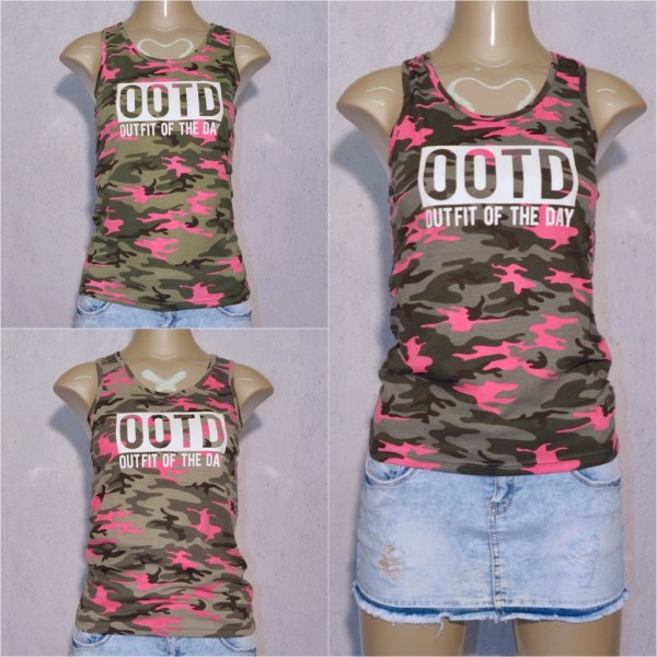 Damen Camouflage Tanktop Top Shirt OOTD Outfit Of The Day print