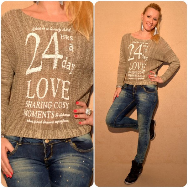 Stylischer Strickpullover mit 24hr a DAY LOVE print KHAKI