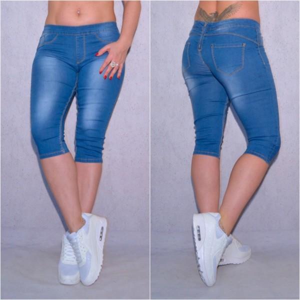 Bequeme Damen CAPRI Bermuda Shorts stretch Denim Jeans Hose Blau