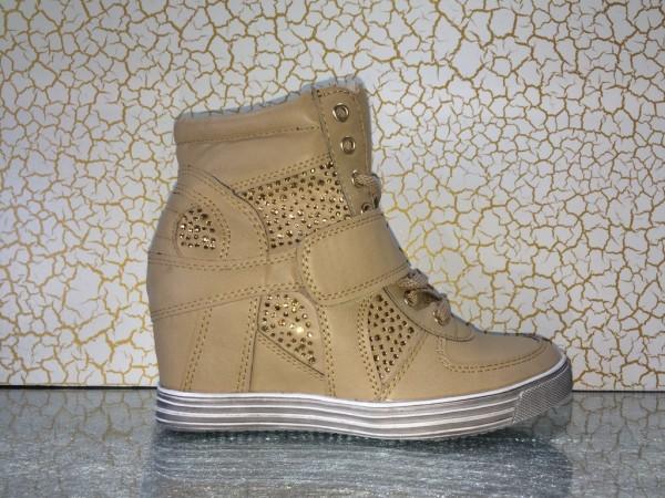 Modische Keil Schnür Sneakers mit Strass KHAKI