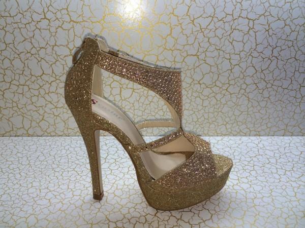 Sexy High Heels GLITZER mit Strasssteinchen GOLD