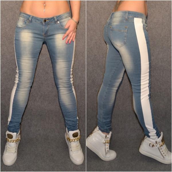 Ausgefallene stretch Jeans mit WEISSEM Kunstledereinsatz