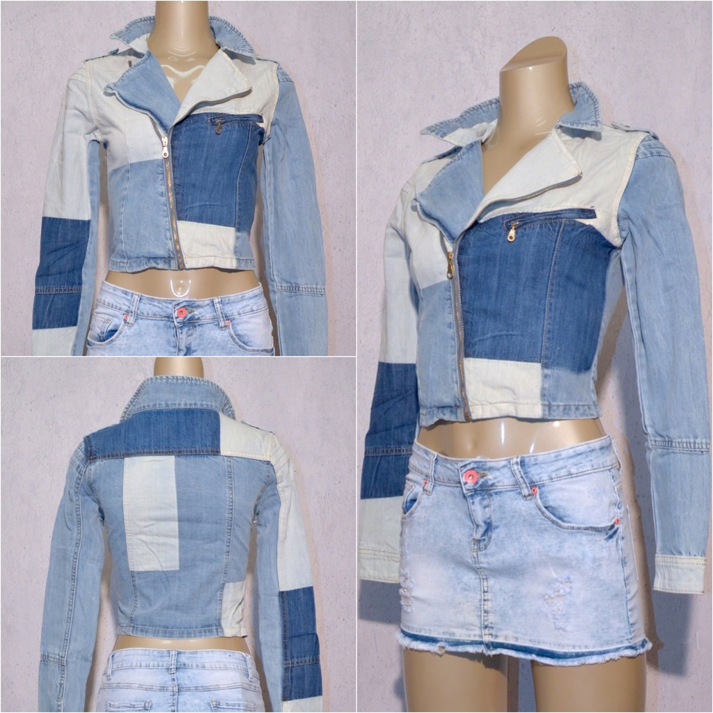 Coole Damen Jeans Denim Jacke mit Zippverschluss in Patchwork Design Blau