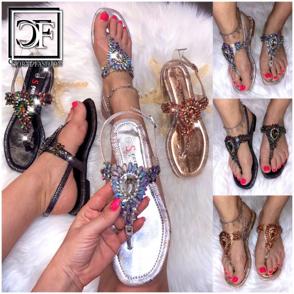 Damen Zehentrenner Sandalen Sandaletten mit HOLO Bling MULTI STRASS in 3 Farben