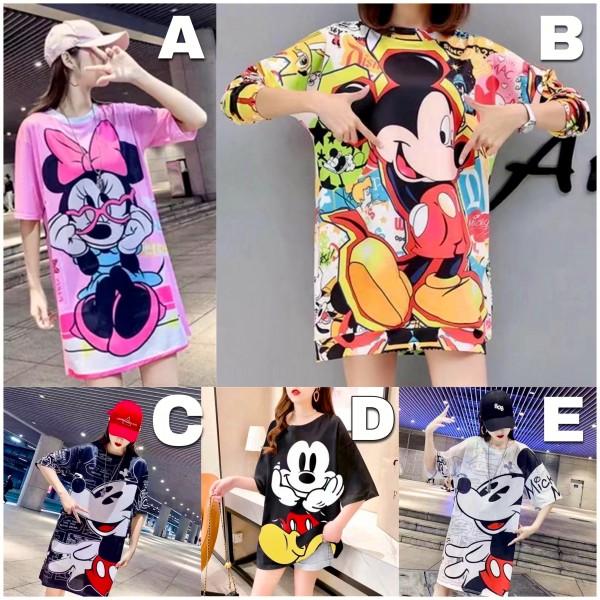 Italy Damen Mickey Kleid Tunika Longshirt / 5 verschiedene Modelle