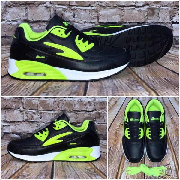 Unisex NEW BELLA Style LUFT Sportschuhe / Sneakers SCHWARZ / Grün