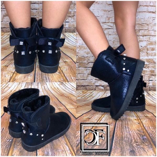 hot sale online 7812e 2f63c Damen Winter Stiefel Boots Stiefeletten Strass & Masche mit Kunstfell  gefüttert SCHWARZ