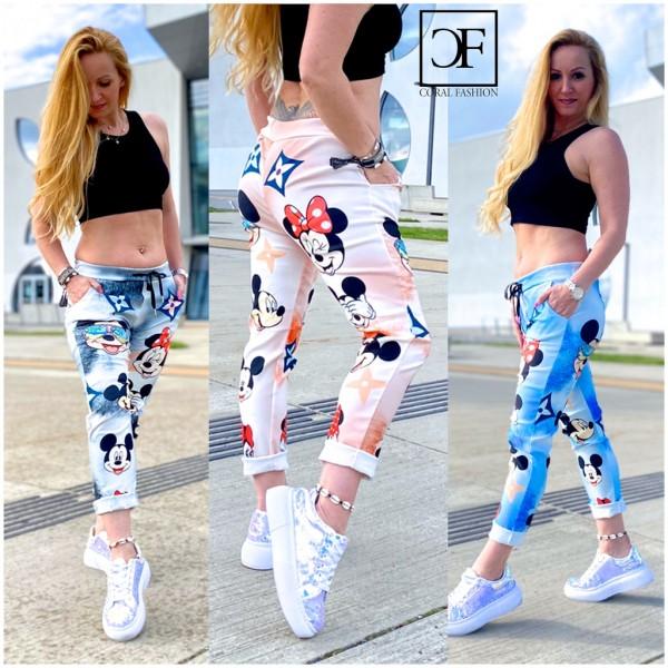 Damen stretch Freizeithose Hose mit Mickey HOLIDAY print ITALY FASHION