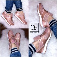 Coole GLITZER Fashion Sportschuhe / Sneakers ROSA / PINK