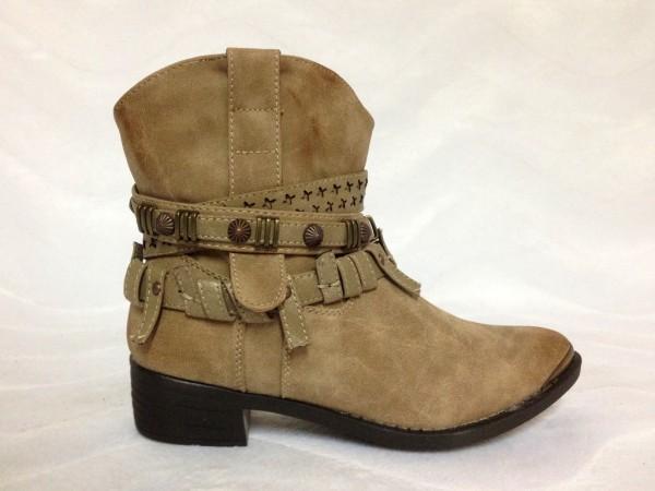 Western Cowboy Stile Stiefeletten / gefüttert BEIGE