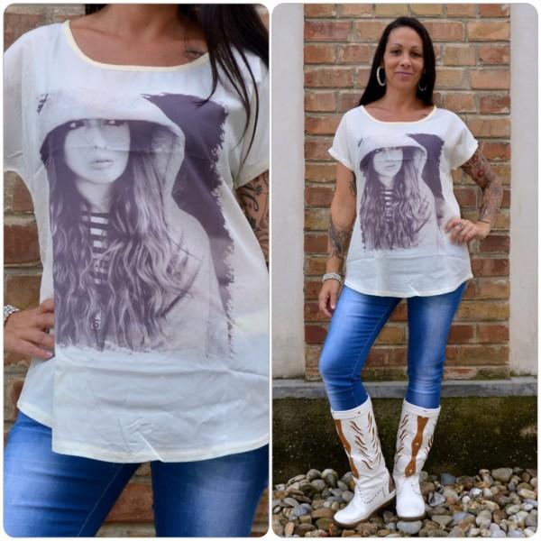 Stylisches Shirt Modell: BEAUTIFUL Kapuzen Lady CREME