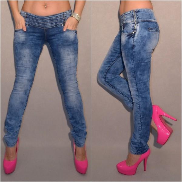 Sexy stretch Jeans mit breitem gestepptem Bund
