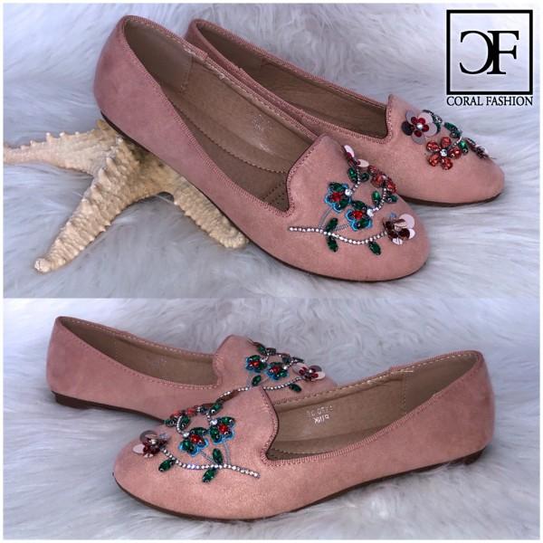 Fashion Ballerinas / Slip On Schuhe mit Blümchen aus Perlen ROSA