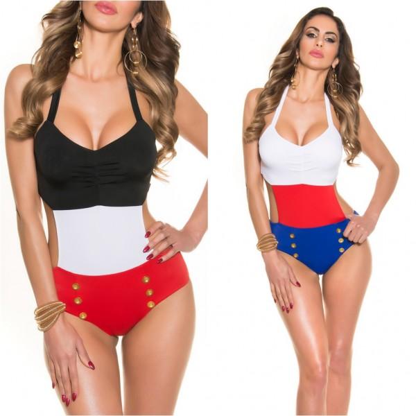 Sexy Damen Neckholder Monokini Bikini in Sailor Look (Größen beachten!)