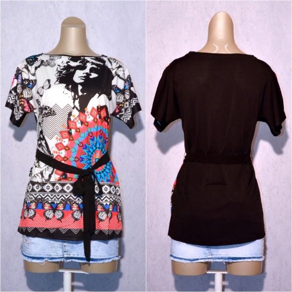 Fashion stretch Shirt / Tunika mit Blumen / Schmetterling Muster