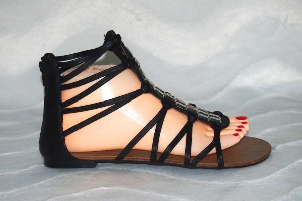 Sandalen mit Strass Steinen Schwarz