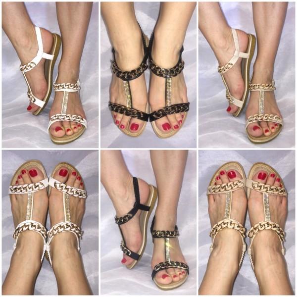 Ausgefallene Sandaletten mit Strass & KETTEN Deko