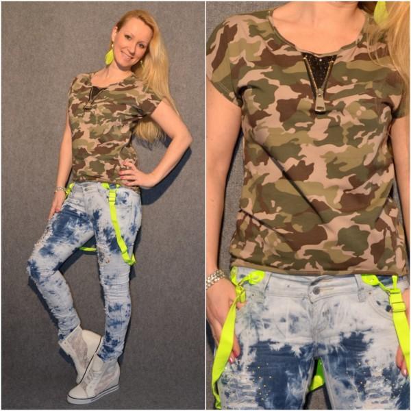 CAMOUFLAGE Shirt / T-Shirt mit Zipp beim Ausschnitt BEIGE