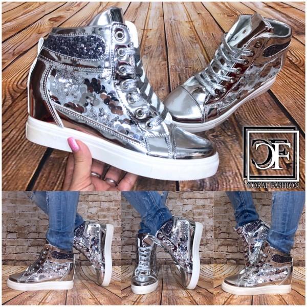 Fashion Damen Highcut Keil Sneakers mit SPITZENEINSATZ & Pailletten SILBER