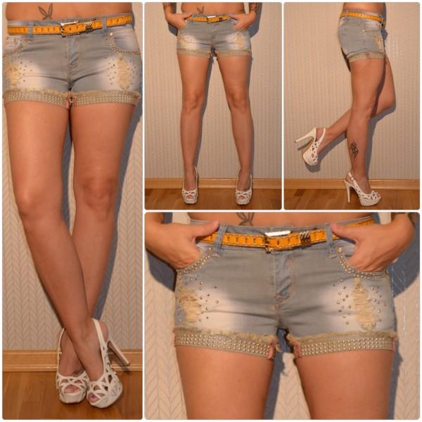 Fashion stretch JEANS Shorts / Hotpants mit Nieten besetzt inkl. Gürtel BLAU/GRAU