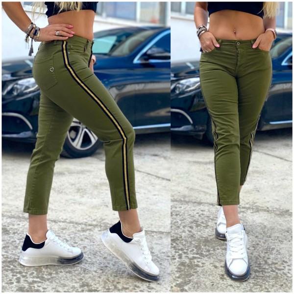 Italy Damen 7/8 Denim stretch JEANS Hose Olivgrün mit seitlichem Streifen / Marke PLEASE Fashion