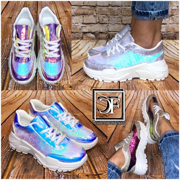 Damen Trend HOLO / GLANZ Rainbow Pailletten Chunky Sneakers Sportschuhe