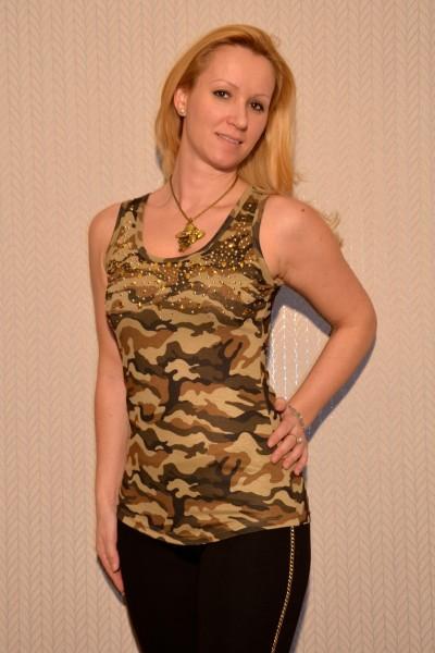 Camouflage Tanktop mit Nieten besetzt BRAUN