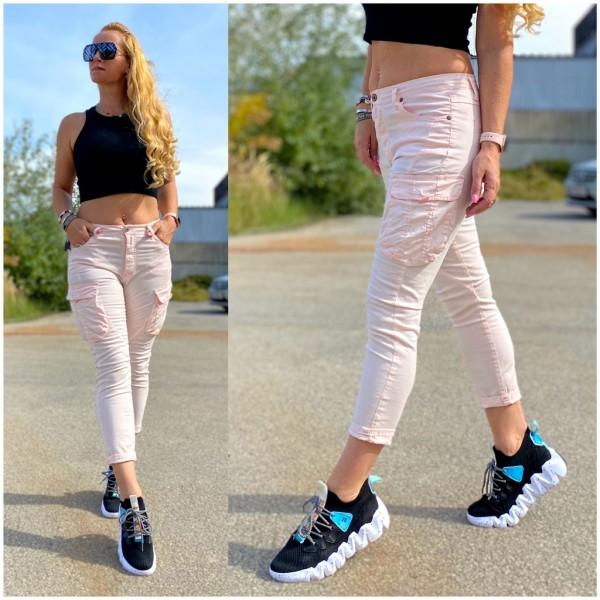 Italy Damen Denim stretch JEANS Hose mit Seitentaschen Rosa / Marke PLEASE Fashion