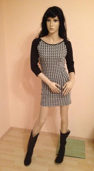 Kleid mit 3/4 Ärmeln SCHWARZ / WEISS