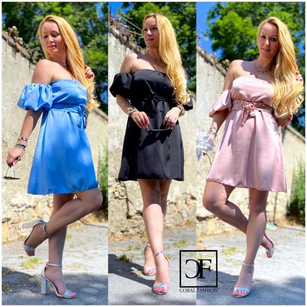 Süßes Damen Italy Kleid Sommerkleid Schulterfrei mit Puffärmeln in 3 Farben