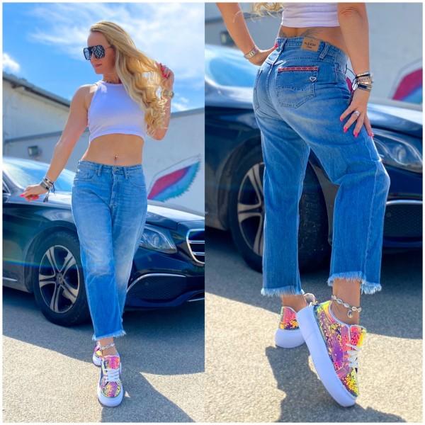 Italy Damen 7/8 Denim JEANS Hose fringed BLAU / Marke PLEASE Fashion
