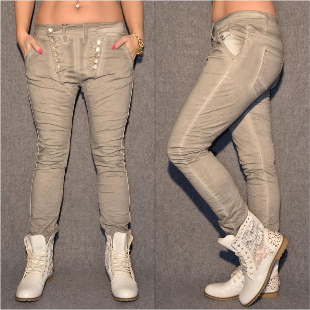 Ausgefallene Harems Jeans mit DOUBLE Knöpfen GRAU   Jeans   Damenmode   Mode    Coral Fashion adcaaad26a