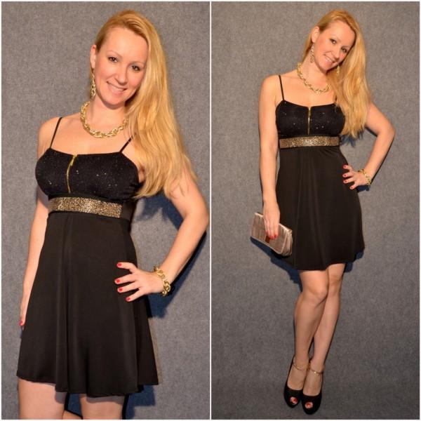 Festliches Träger Kleid mit Nietenbund SCHWARZ schwarz