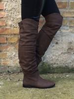 AKTION!!! - OVERKNEE Stiefel mit Strasssteinen für Herbst/Winter KAFFEE