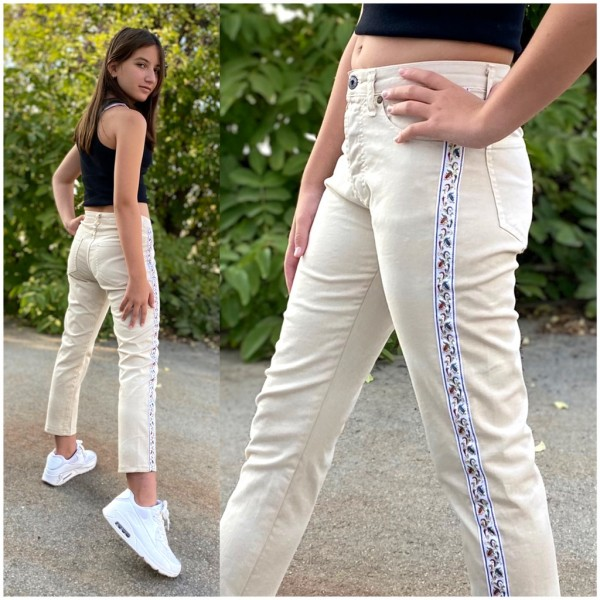 Italy Damen Denim stretch 7/8 JEANS Hose mit seitlichem Streifen Beige / Marke PLEASE Fashion
