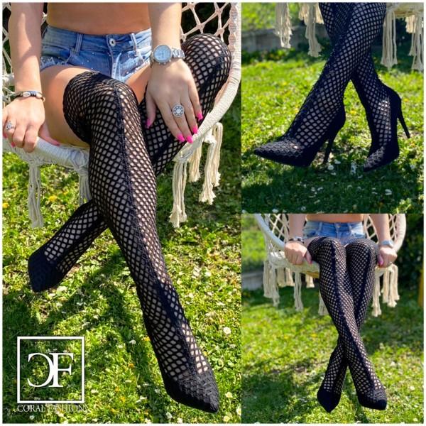 SEXY Damen High Heels OVERKNEEs Langschaft Stiefel stretch mit Netz Lochmuster SCHWARZ