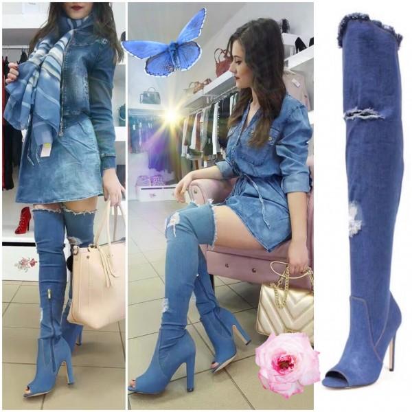 SEXY High Heels / Peep Toes / OVERKNEEs in destroyed Denim / Jeans Look