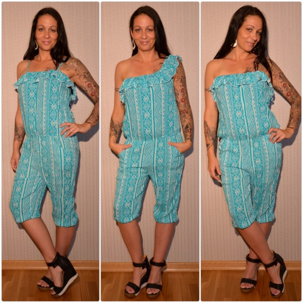 Sommer Jumpsuit / Overall 3 in 1 TÜRKIS / WEISS