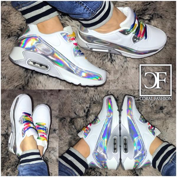 RAINBOW LUFT Sportschuhe / Sneakers in HOLO Weiß Mix + 1 Paar GRATIS Schnürsenkel in weiß