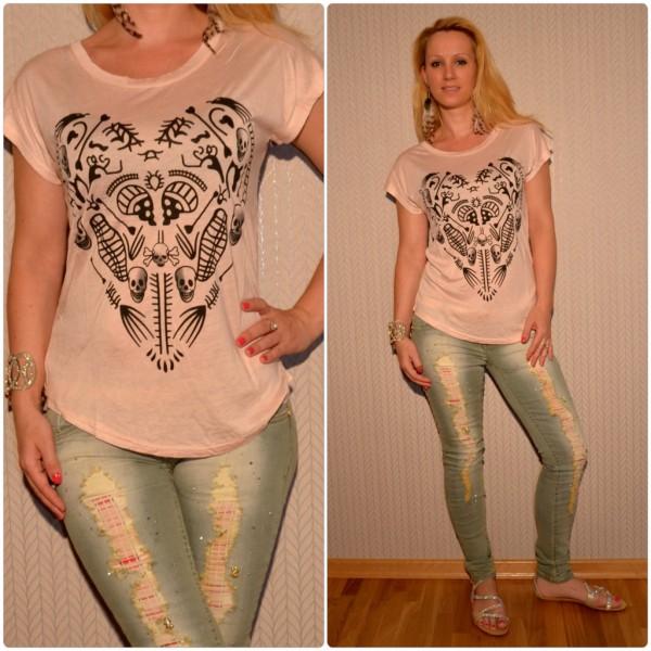 Stylisches Shirt Modell: HERZ / TOTENKOPF Print ROSA
