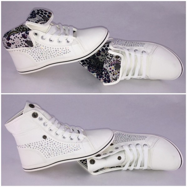 Coole STRASS Sneakers 2in1 / WEISS