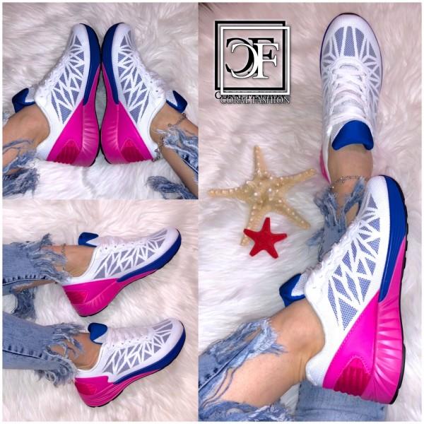Damen Net Netz Stripes Sportschuhe Sneakers Pink / Blau / Weiß