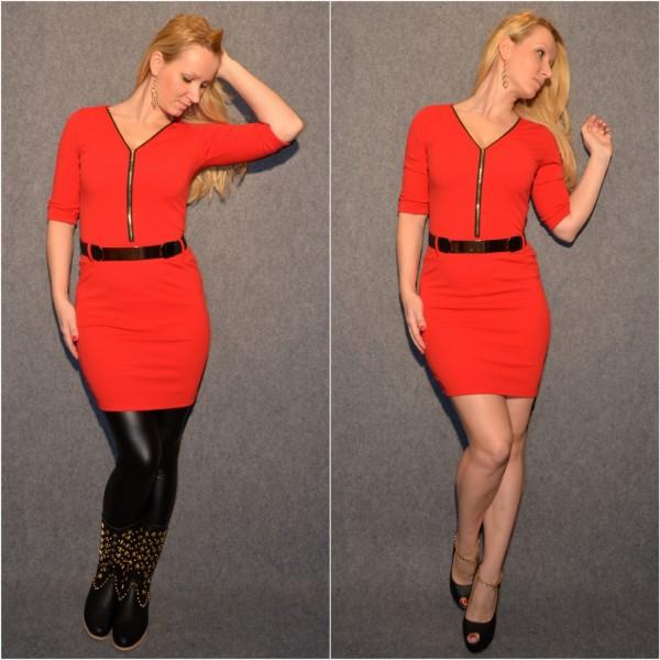 Stylisches Kleid mit Zipp beim Ausschnitt ROT