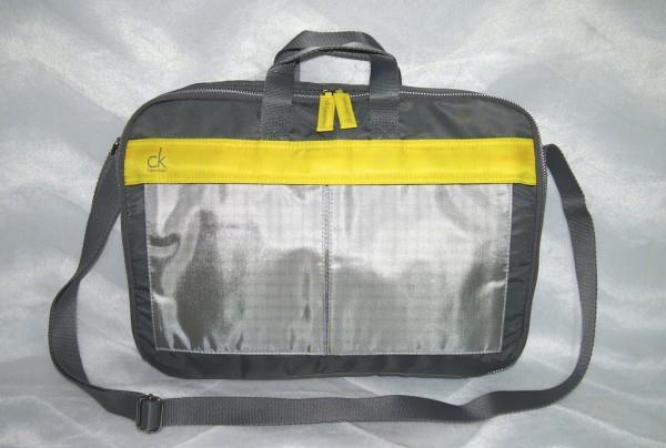 CALVIN KLEIN Laptop Tasche Grau / Gelb