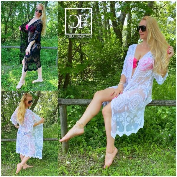 Süßer Italy Damen Cover Up Kimono Kaftan Strandkittel mit Spitze & Stickerei KURZ in 2 Farben