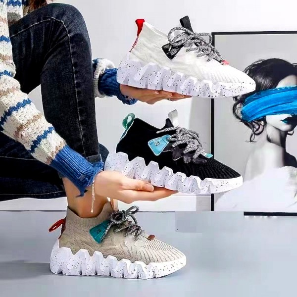 Bequeme Damen Stretch Knit Sportschuhe Sneakers mit Zick Zack Sohle in 4 Farben