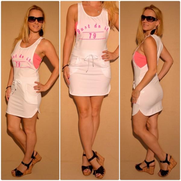 "Kurzes Kleid inklusive Bandeautop ""Just Do It"" WEISS"